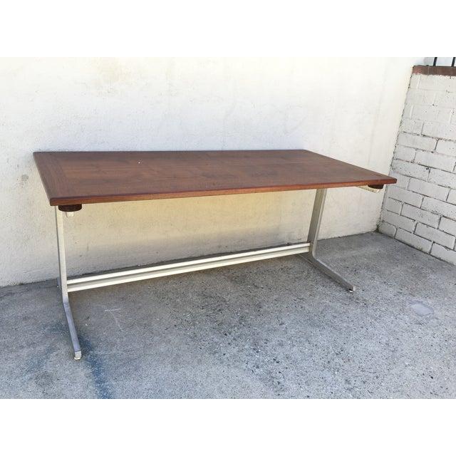 Mid-Century Industrial Metal & Walnut Desk - Image 3 of 11