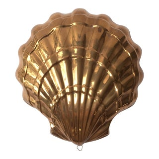 Large Vintage Italian Copper Seashell Mold With Hanging Loop