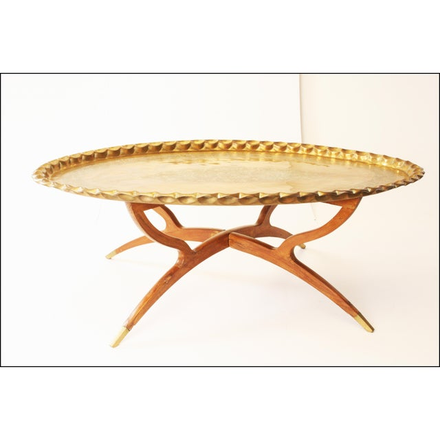Vintage Moroccan Coffee Table with Brass Charger Top - Image 2 of 11