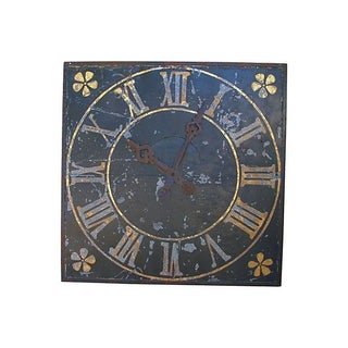 Large Antique French Iron & Gilt Tower Clock Face