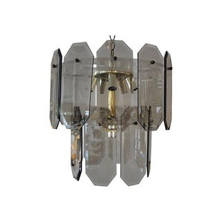 1960's Smoked Glass, Lucite and Brass Chandelier