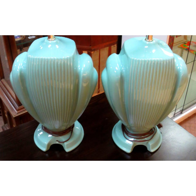 Hollywood Regency Mint Lamps - A Pair - Image 3 of 10