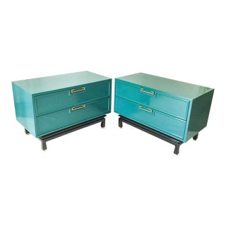 American of Martinsville Ming Lacquered Nightstands - A Pair