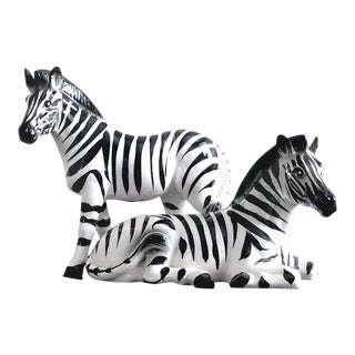 Vintage Ceramic Zebra Figurines - A Pair