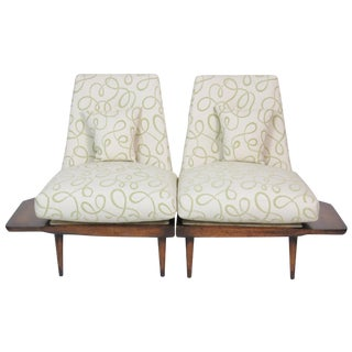 Modern Design Built-In End Table Lounge Chairs - a Pair