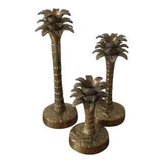 Brass Palm Tree Candle Holders - Set of 3