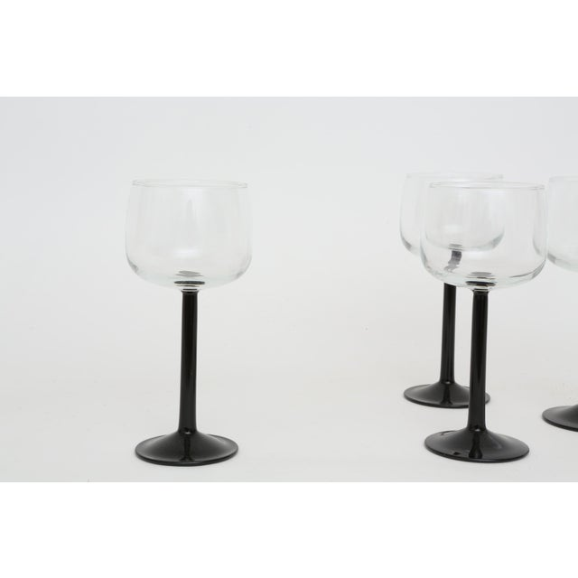 Vintage French Black Stem Glasses - Set of 4 - Image 7 of 7