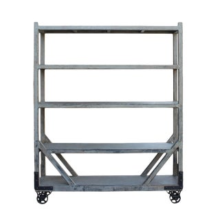 Distressed Gray Display Shelving on Wheels