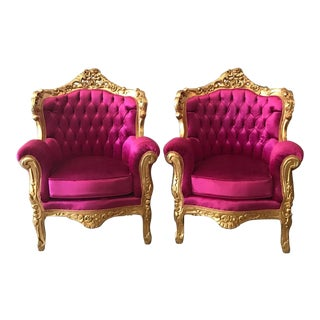 Italian Rococo Pink Chairs - A Pair
