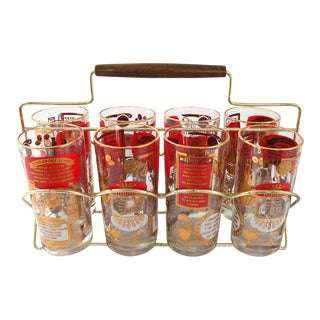 Mid-Century High Ball Drink Recipe Glasses With Carrier - Set of 8