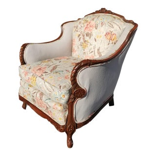 Antique Gray & Floral Fabric Club Chair