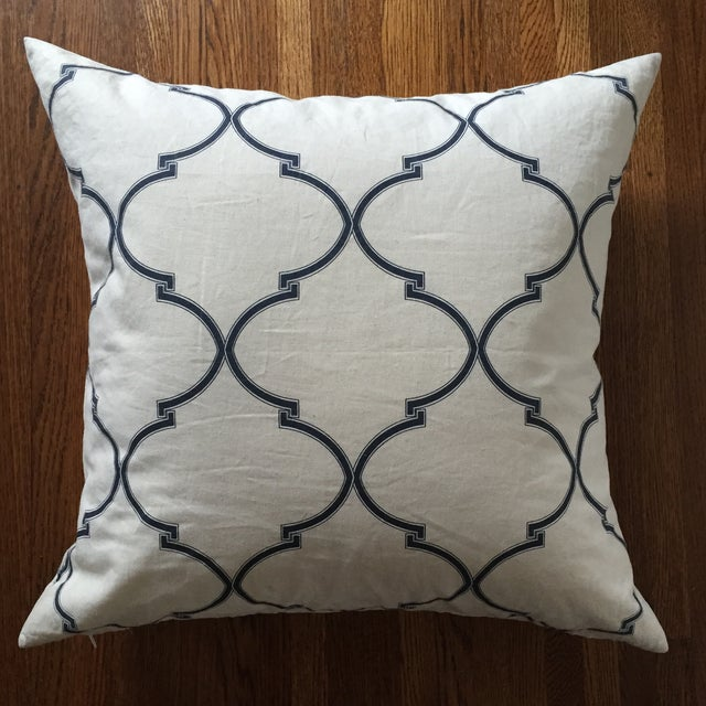 Blue and White Pillow Cover with Insert - Image 2 of 5