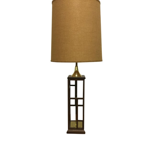 Large Modernist Walnut and Brass Table Lamp - Image 1 of 9