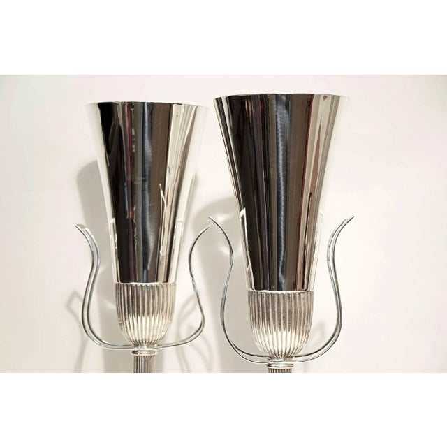 Image of Pair of Tommi Parzinger Silver Plate Table Lamps for Lightolier