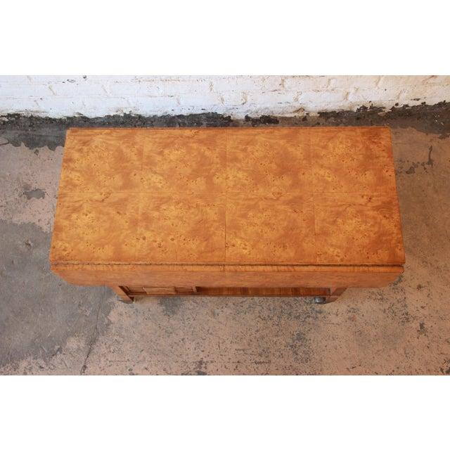 Bernhard Rohne for Mastercraft Burled Olive Wood Bar Cart - Image 6 of 11