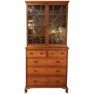 1800's Irish Glass Front Cabinet Secretary