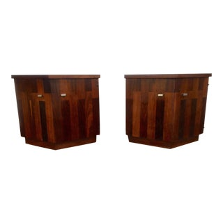 Lane Rosewood & Walnut Nightstands - A Pair