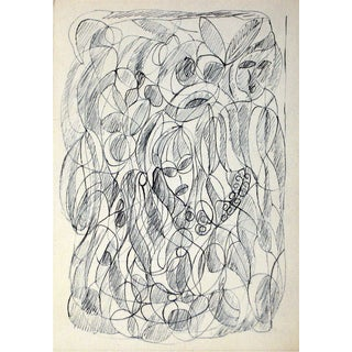 Jennings Tofel Ink Drawing Abstracted Figures
