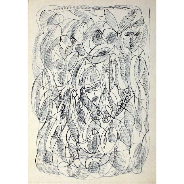 Image of Jennings Tofel Ink Drawing Abstracted Figures