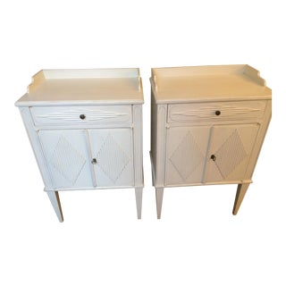 Country Swedish Painted Wood Nightstands - Pair
