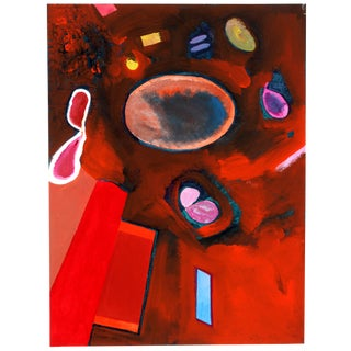 """1979 Vlasek Hails """"Circular Projection in Red"""" Painting"""