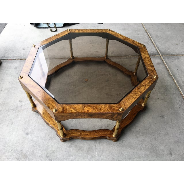 Vintage Wood & Beveled Glass Octagon Coffee Table - Image 4 of 4