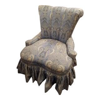 Vintage Channel Back Skirted Blue Paisley Linen Slipper Chair