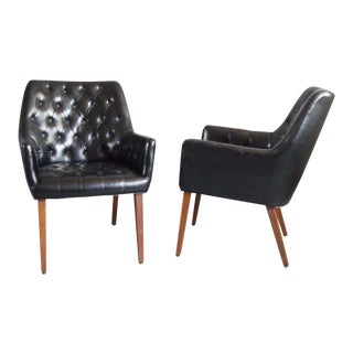 Pair of Diamond Tufted Black Leather Occasional Chairs