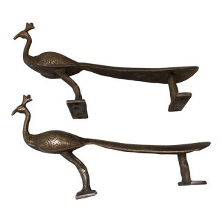 Brass Peacock Door Handles - a Pair