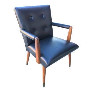 Mid-Century Black Vinyl & Walnut Arm Chair