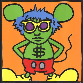 "Keith Haring ""Andy Mouse, Dollar Sign"" 1989 Serigraph"