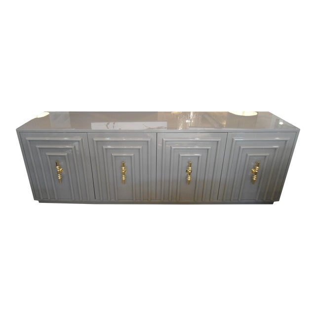 ModShop Art Deco Gray Lacquer W/ Gold Pulls Sideboard - Image 1 of 9
