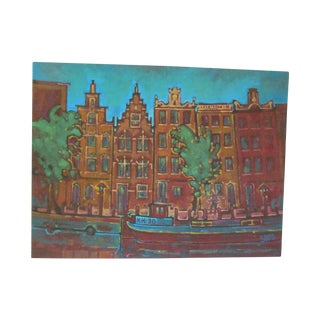 Painting of Amsterdam Canal and Townhouses