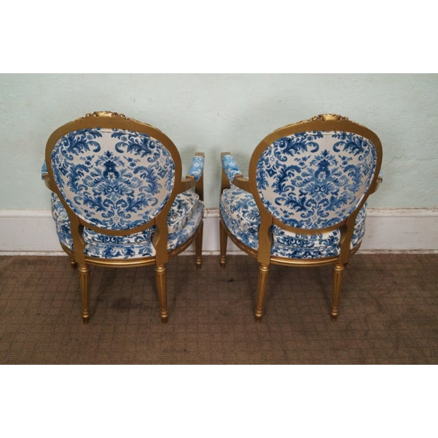 Vintage Gilt French Louis XVI Chairs - A Pair - Image 4 of 10