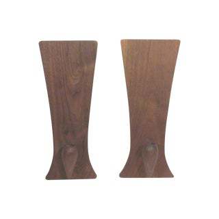 Baughman-Style Walnut Wall Sconces - A Pair
