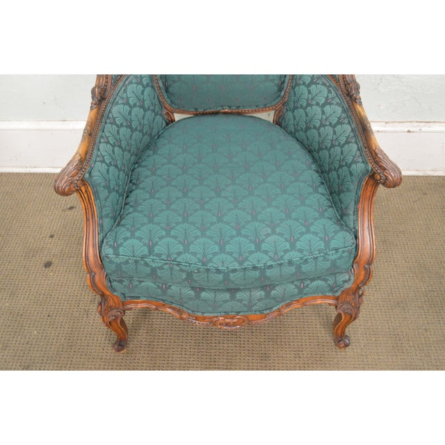 Antique Carved Rococo Style Wing Chair - Image 2 of 10