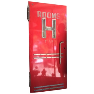 Graphic Art Deco H Red Hotel Door