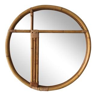 1970's Bamboo Round Mirror