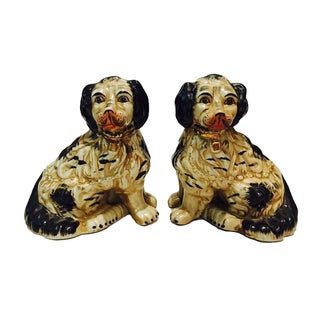 1920s Staffordshire Dogs King Charles Spaniels - A Pair