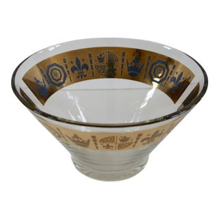 Gold Accented Glass Salad Bowl