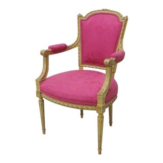 French Carved Cream Painted Fauteuil/Arm Chair