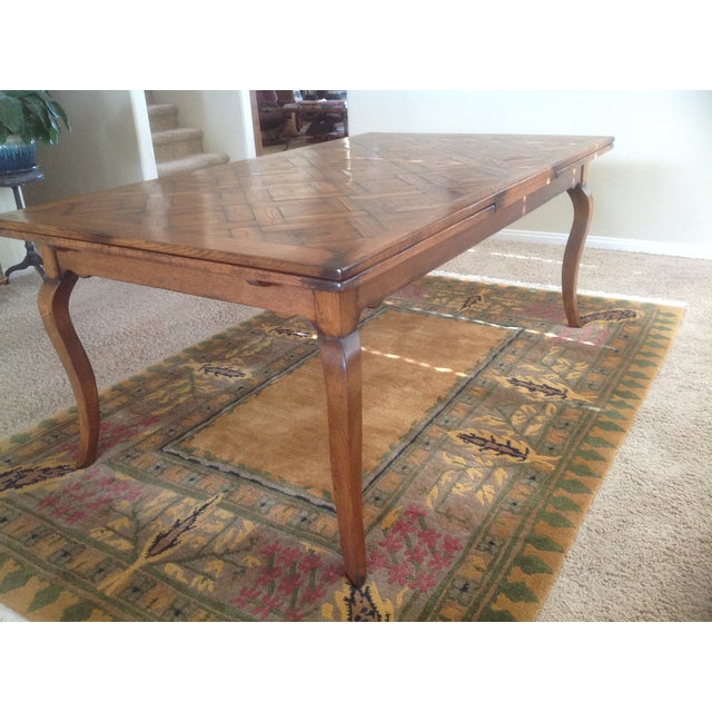 Parquet Top Dining Table With Two Built In Leaves
