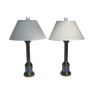 Paul Hanson Gold & Chrome Column Lamps - A Pair