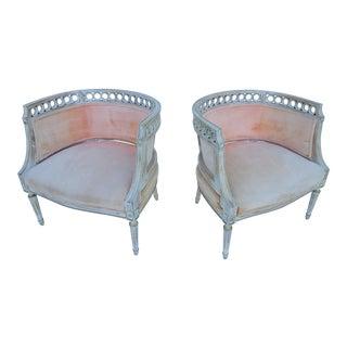 Hollywood Regency Barrel Back Lounge / Club Chairs A Pair.