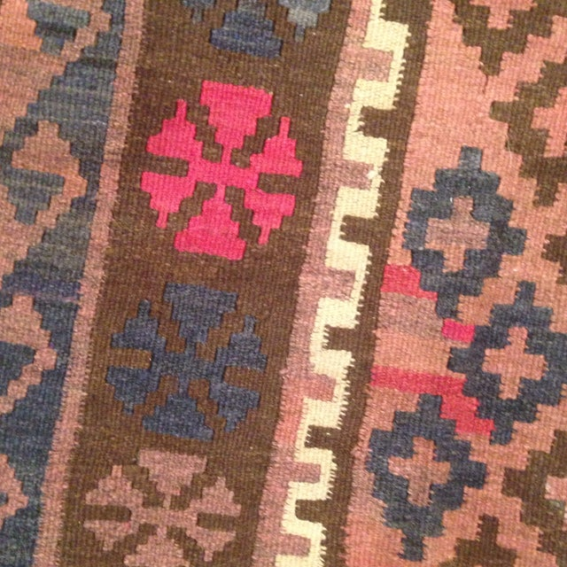 """Turkish Kilim With Hot Pink Pops - 7' X 4'1"""" - Image 5 of 6"""