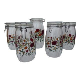Vintage French Glass Floral Jars - Set of 5