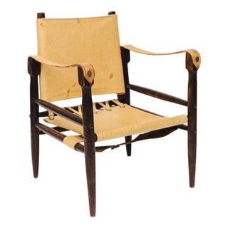 Leather Safari Chair with Pivoting Back