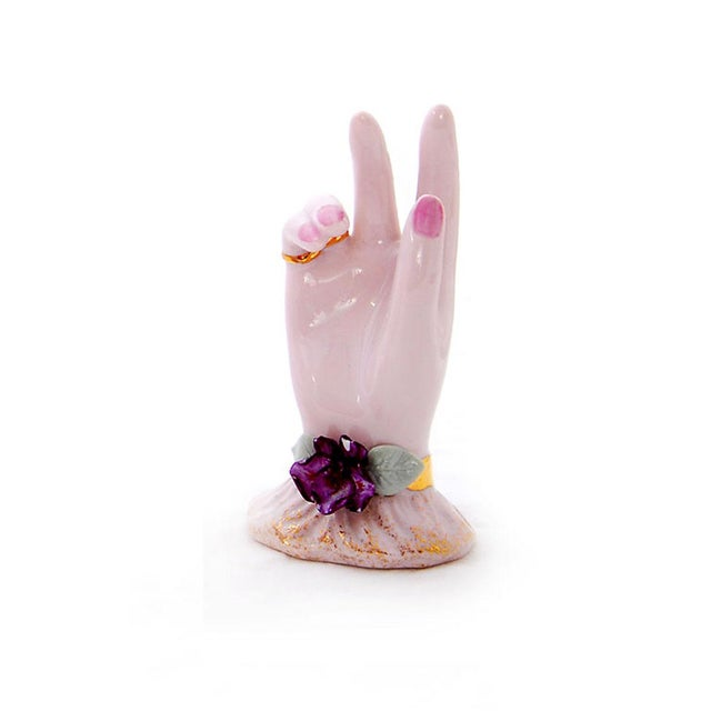 Image of Pink Porcelain Hand Ring Holders- A Pair