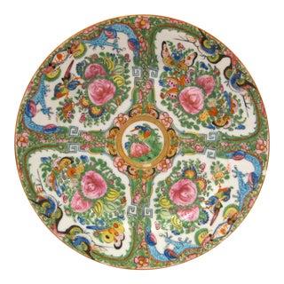1930's Antique Rose Canton Dragon Motif Porcelain Plate