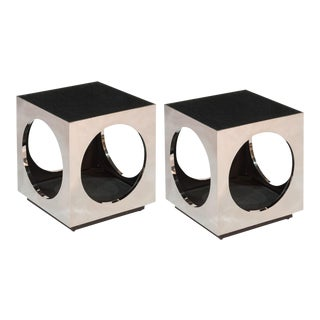 Sarreid LTD Cube & Circle Side Table - A Pair